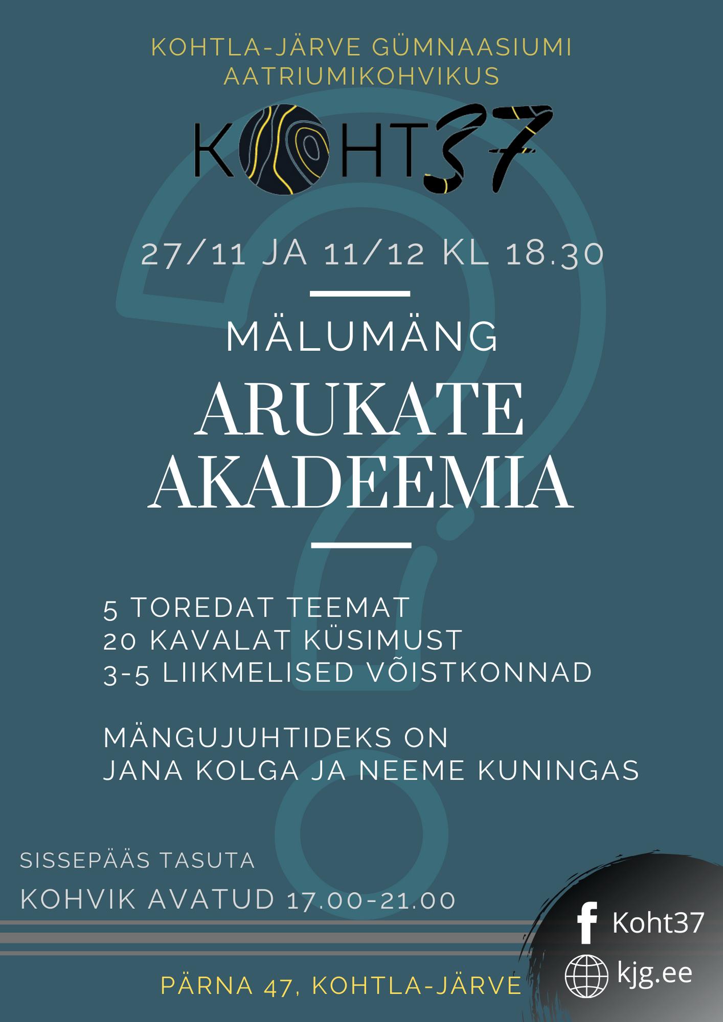 KOHT37: mälumäng Arukate Akadeemia