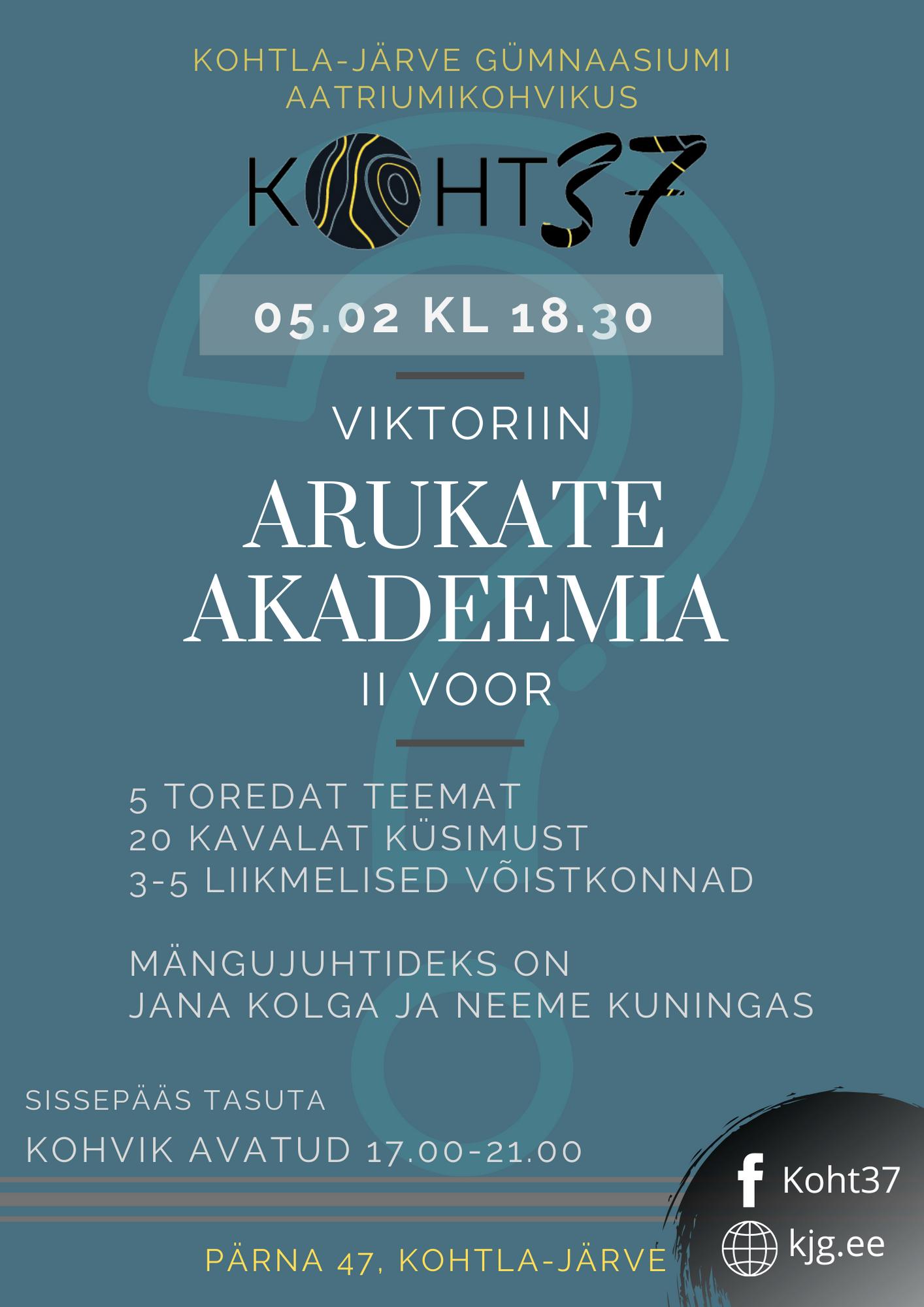 KOHT37: Viktoriiniturniir Arukate Akadeemia – II voor