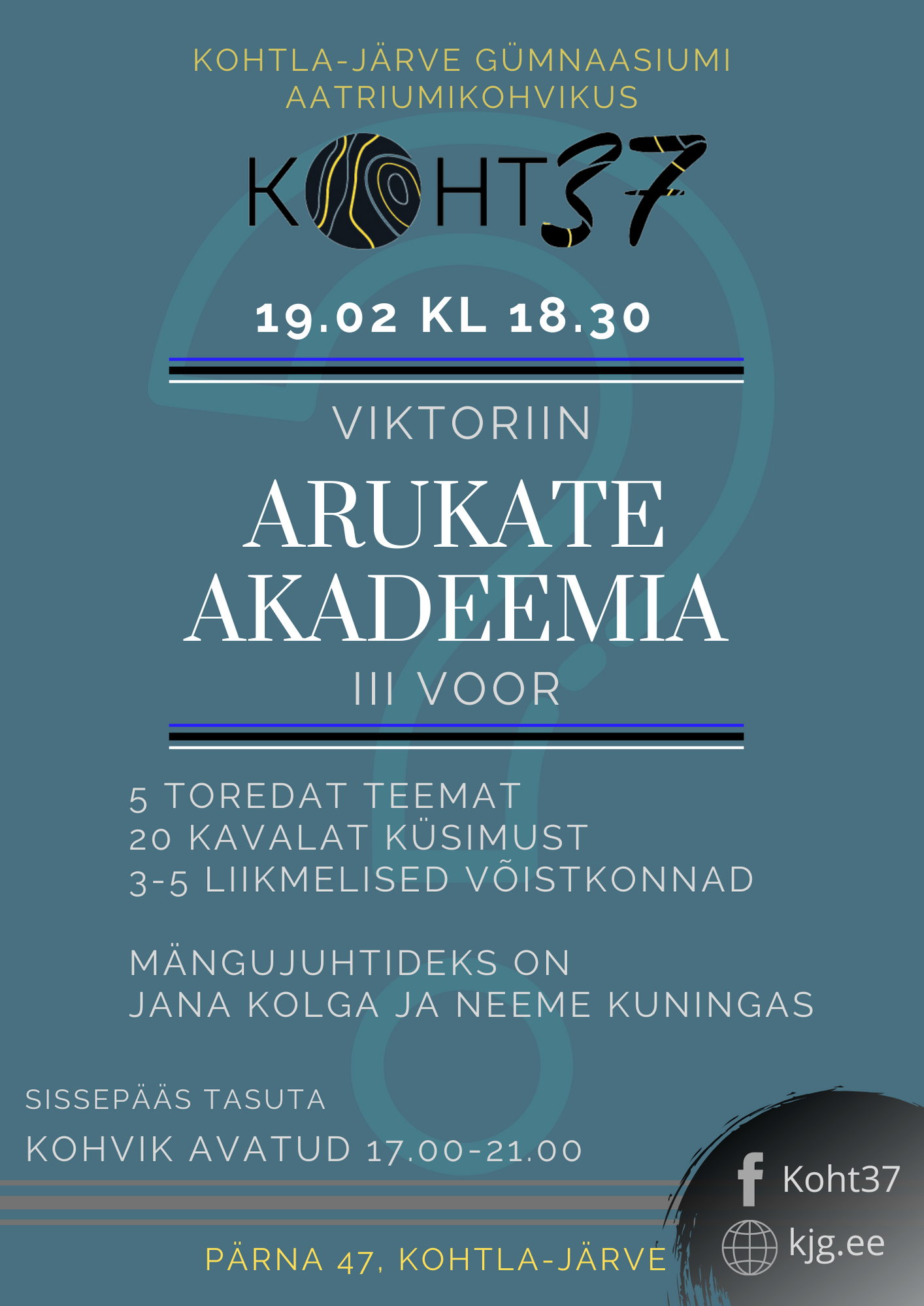 KOHT37: Viktoriiniturniir Arukate Akadeemia – III voor