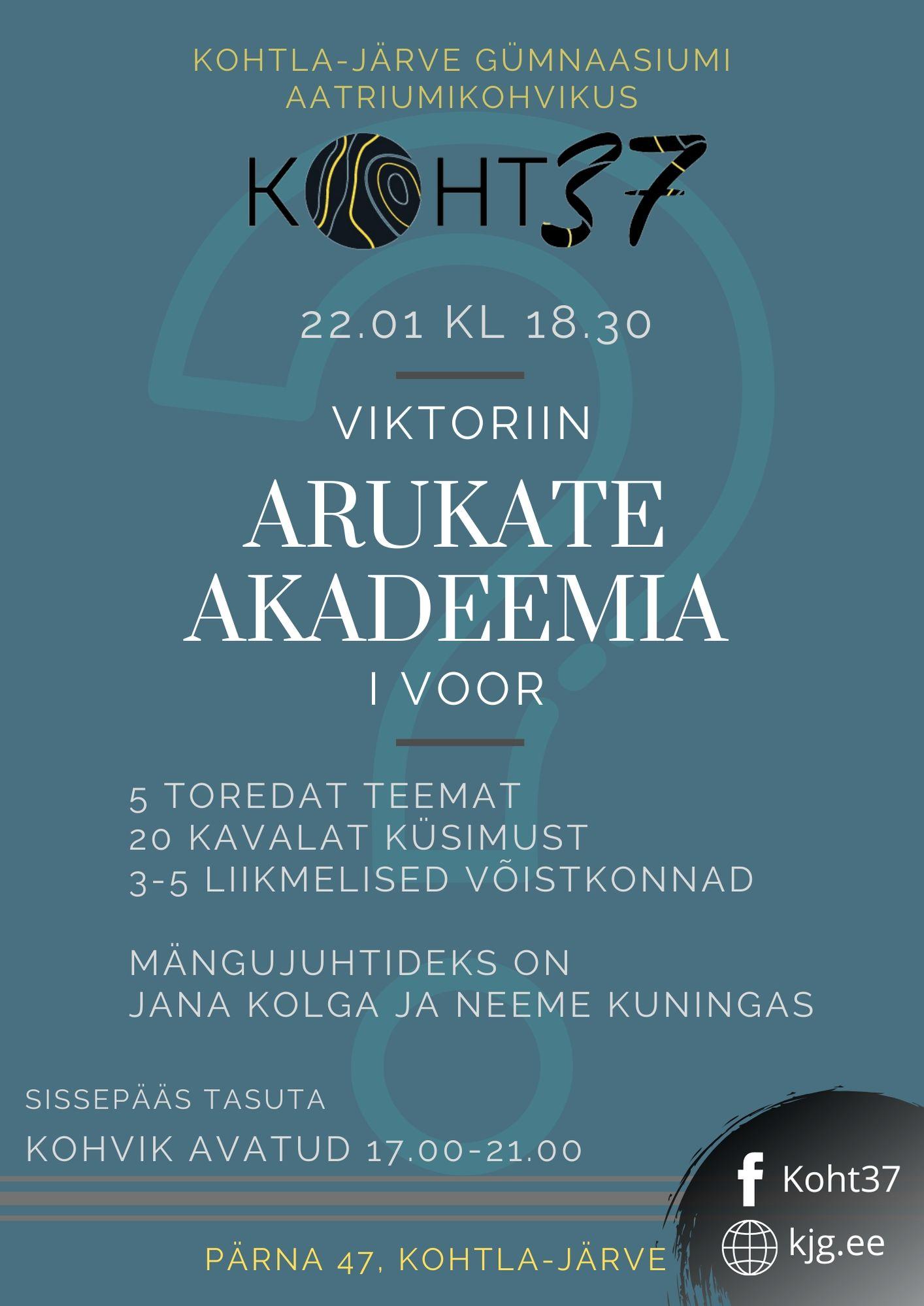 KOHT37: Viktoriin Arukate Akadeemia – 1. voor