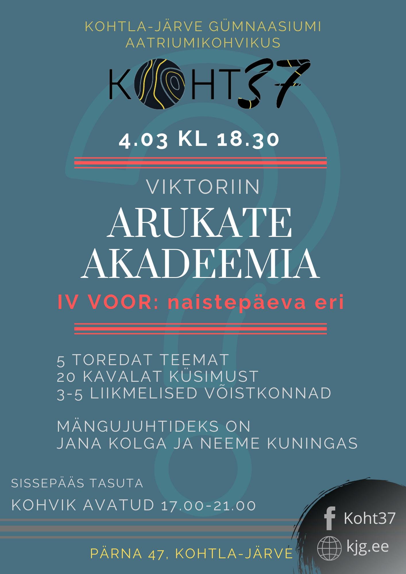 KOHT37: Arukate akadeemia IV voor: naistepäeva eri